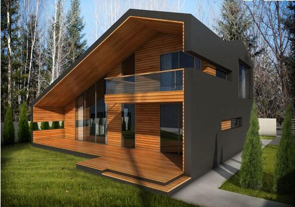 двуетажна къща с минималистичен вид и дървена облицовка