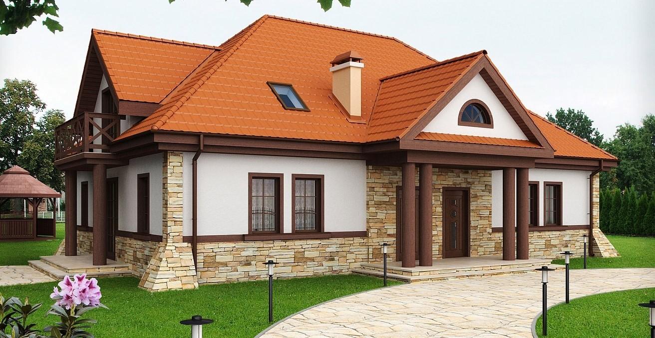 сглобяема къща облицована с дърво и камък