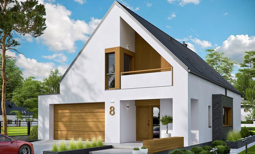 луксозна планинска сглобяема къща на два етажа с двускатен покрив