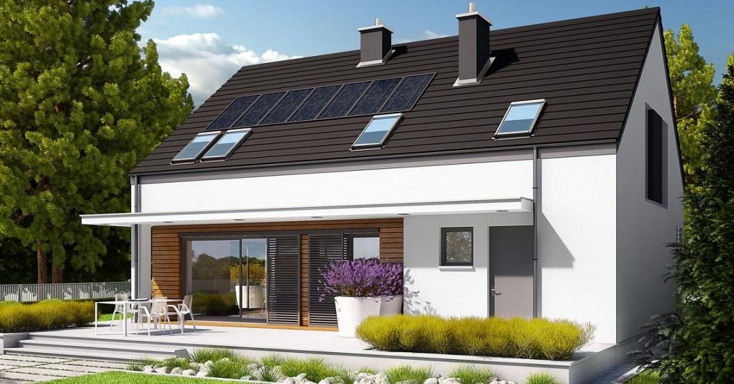 енергоспестяваща къща с слънчеви батерии от метална конструкция на два етажа