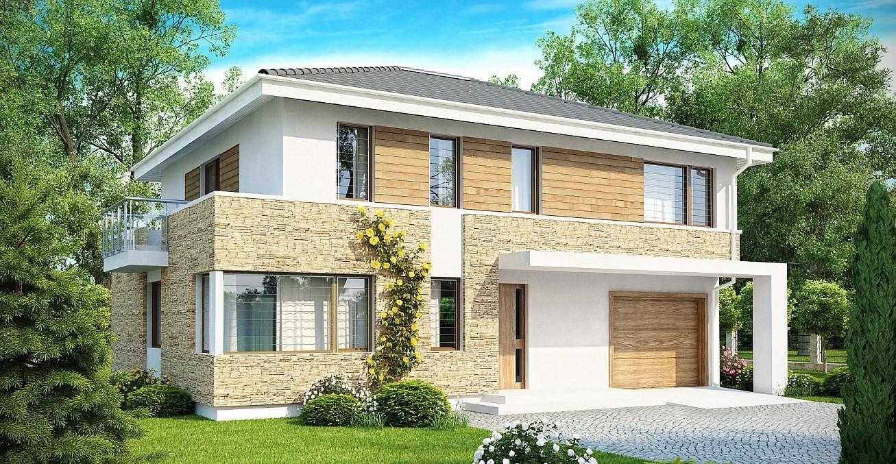 сглобяема къща от метална конструкция с дърво и камък от бонис билд