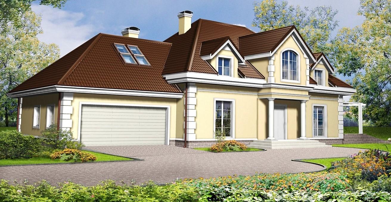сглобяема къща с каменна облицовка и кафяви керемиди