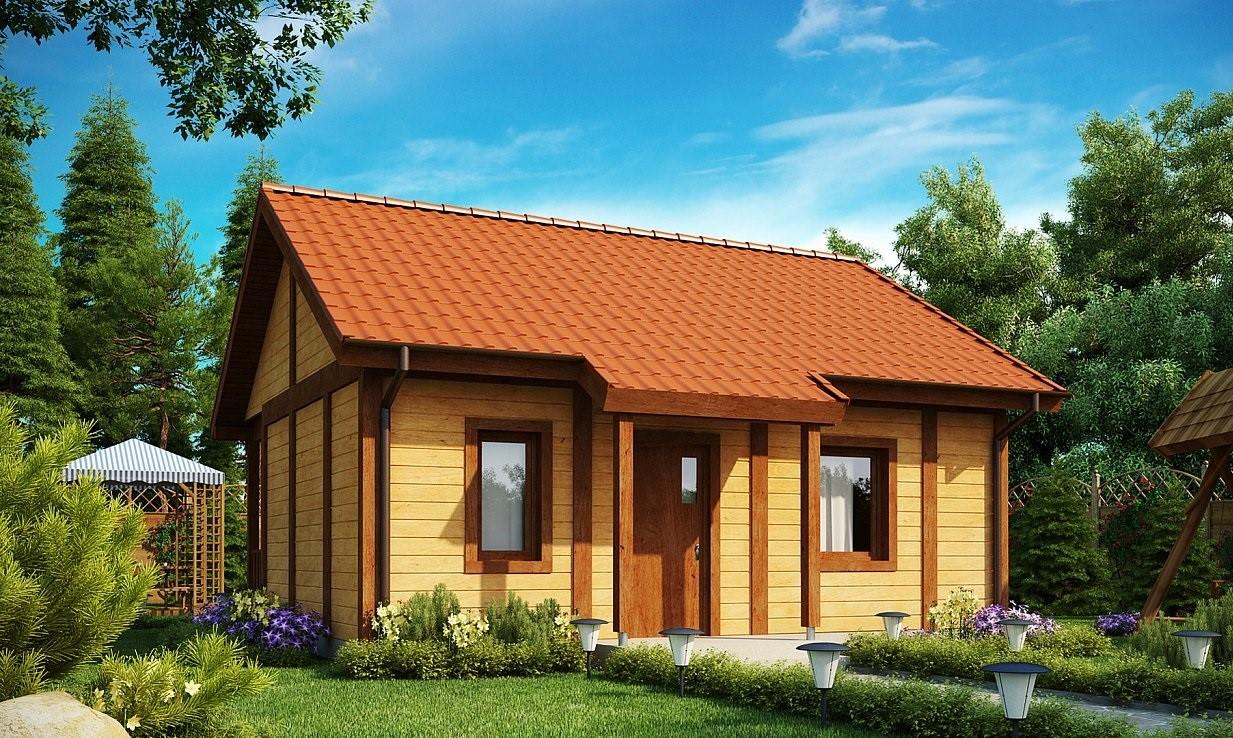 едноетажна сглобяема къща с дървена облицовка