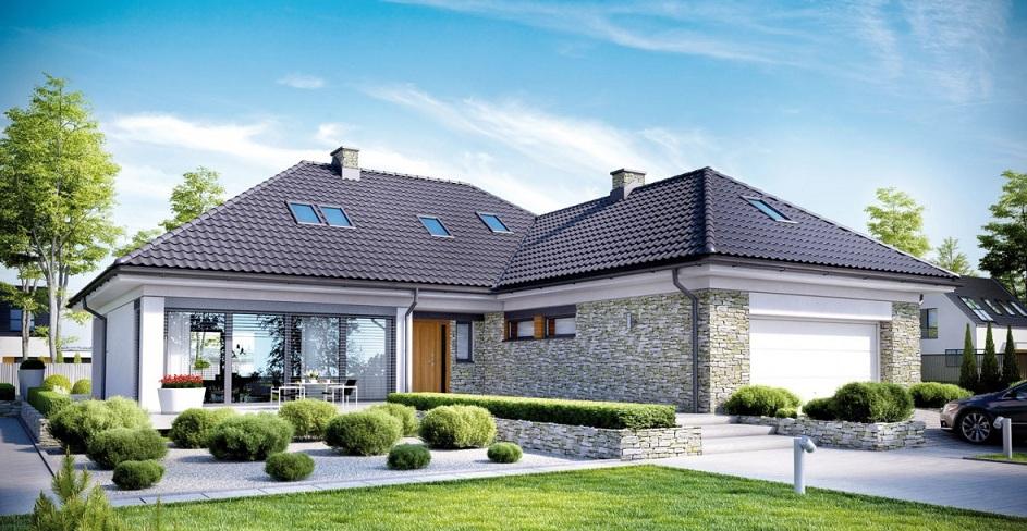 сглобяема къща с екстериор от камък