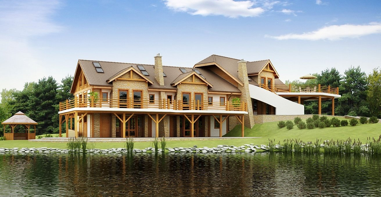Модерна триетажна къща от сглобяема конструкция